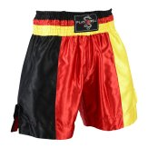 Boxing Competition Black Satin Training Shorts - German Flag